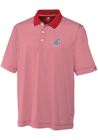 Washington State Cougars Cutter and Buck Trevor Stripe Polo Shirt - Red