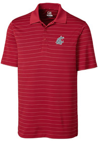 Washington State Cougars Cutter and Buck Franklin Stripe Polo Shirt - Red