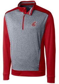 Washington State Cougars Cutter and Buck Replay 1/4 Zip Pullover - Crimson
