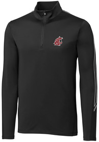 Washington State Cougars Cutter and Buck Pennant Sport 1/4 Zip Pullover - Black