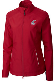 Washington State Cougars Womens Cutter and Buck Beacon Light Weight Jacket - Crimson