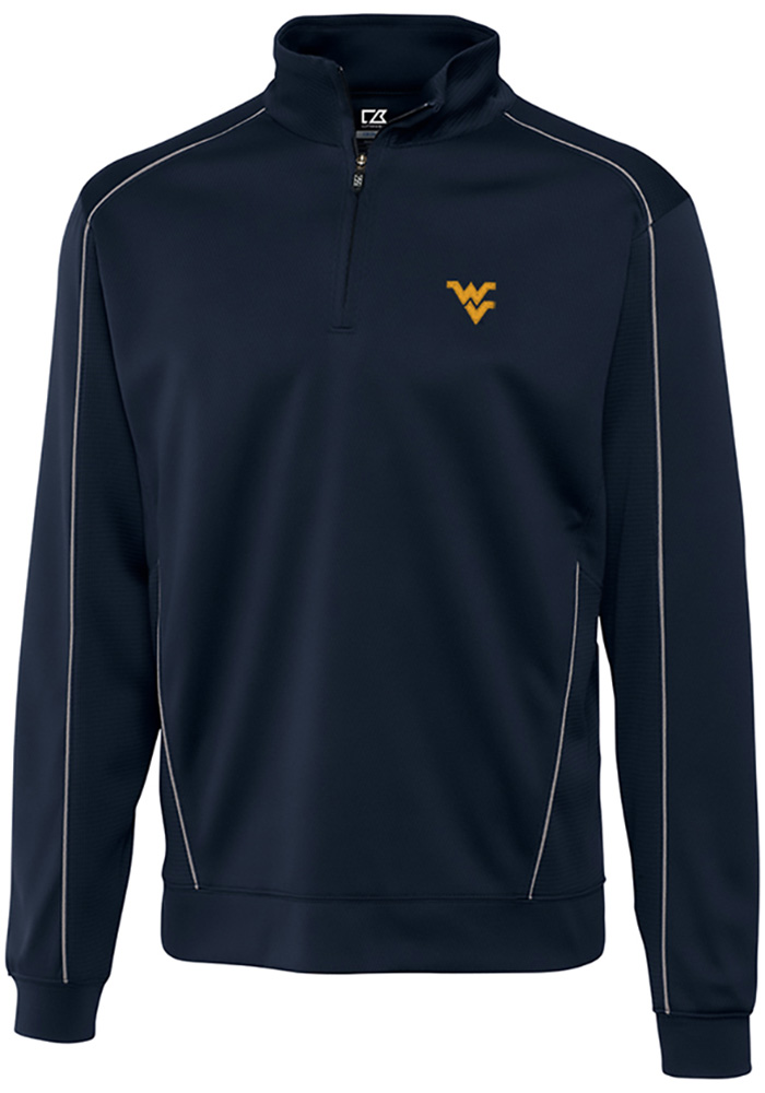 Cutter and Buck West Virginia Mountaineers Mens Navy Blue Edge Long Sleeve 1/4 Zip Pullover - Image 1