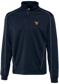 West Virginia Mountaineers Cutter and Buck Edge 1/4 Zip Pullover - Navy Blue