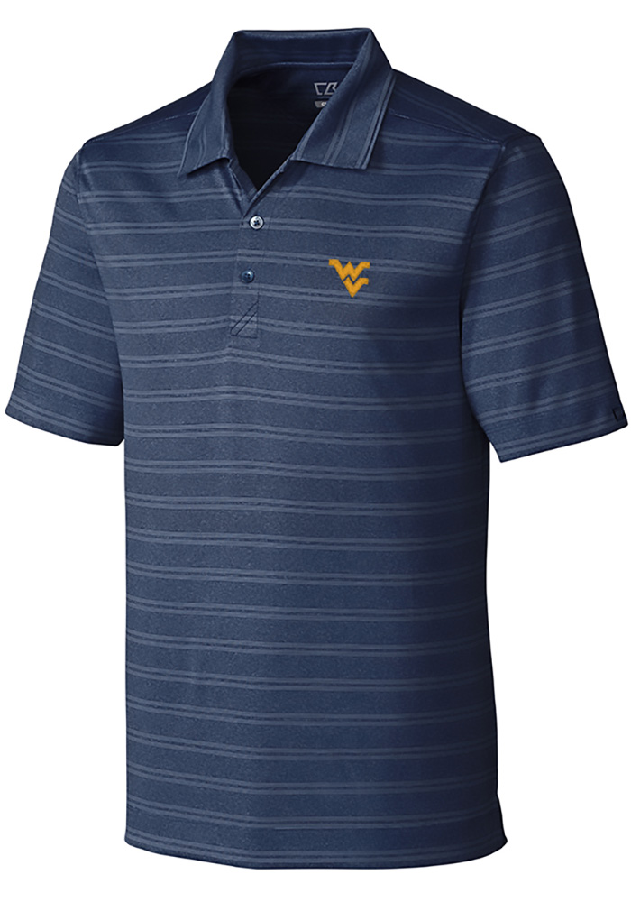 Cutter and Buck West Virginia Mountaineers Mens Navy Blue Interbay Melange Short Sleeve Polo - Image 1