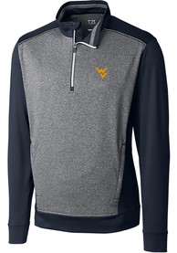 West Virginia Mountaineers Cutter and Buck Replay 1/4 Zip Pullover - Navy Blue