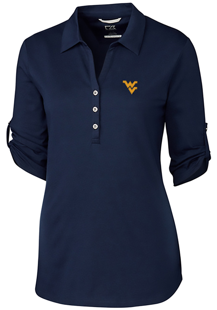 Cutter and Buck West Virginia Mountaineers Womens Thrive Long Sleeve Navy Blue Dress Shirt - Image 1