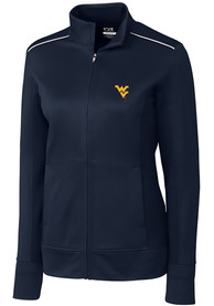 West Virginia Mountaineers Womens Cutter and Buck Ridge Full Zip Jacket - Navy Blue