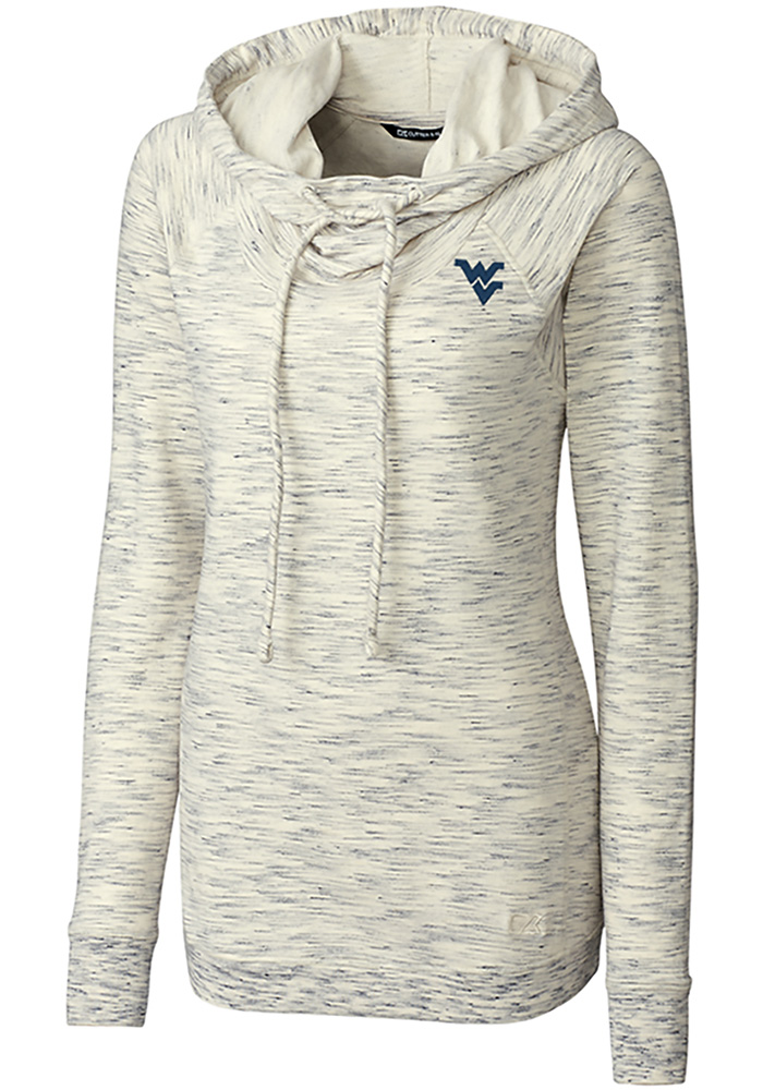 Cutter and Buck West Virginia Mountaineers Womens White Tie Breaker Hooded Sweatshirt - Image 1
