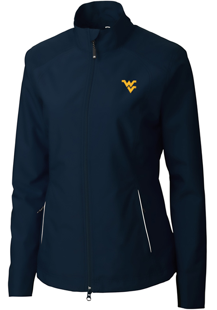 Cutter and Buck West Virginia Mountaineers Womens Navy Blue Beacon Light Weight Jacket - Image 1