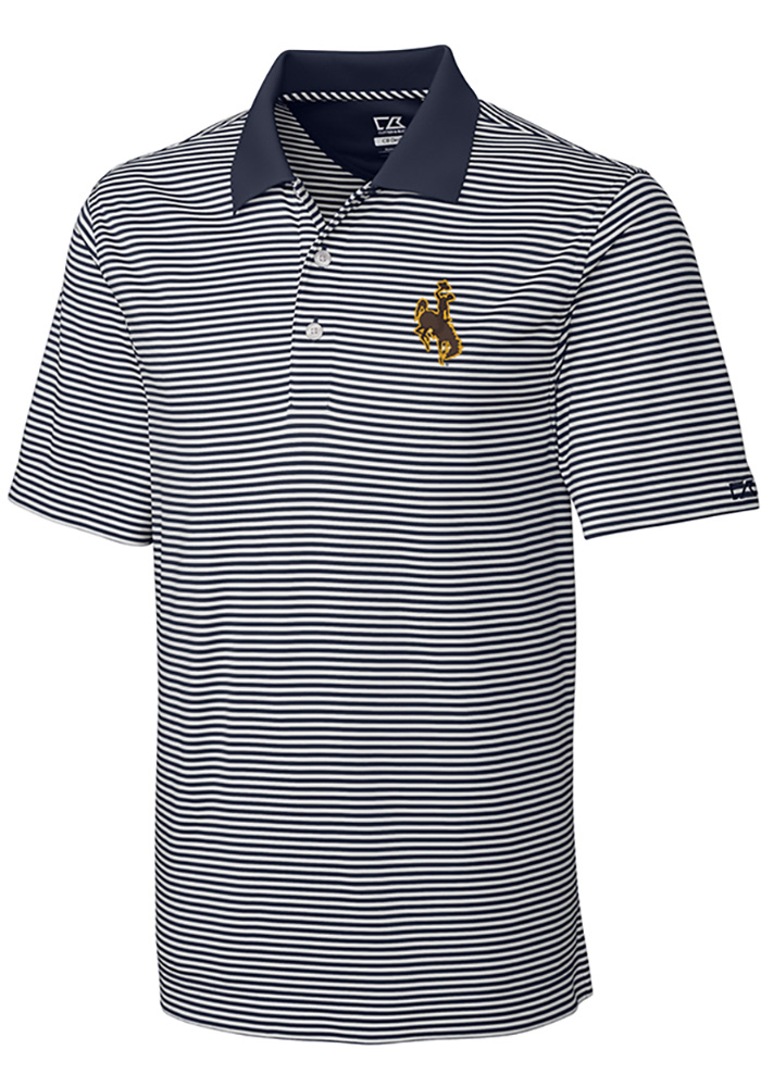 Cutter and Buck Wyoming Cowboys Mens White Trevor Stripe Short Sleeve Polo - Image 1