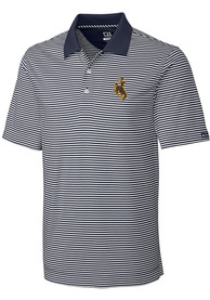 Wyoming Cowboys Cutter and Buck Trevor Stripe Polo Shirt - White