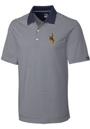 Cutter and Buck Wyoming Cowboys Mens White Trevor Stripe Short Sleeve Polo