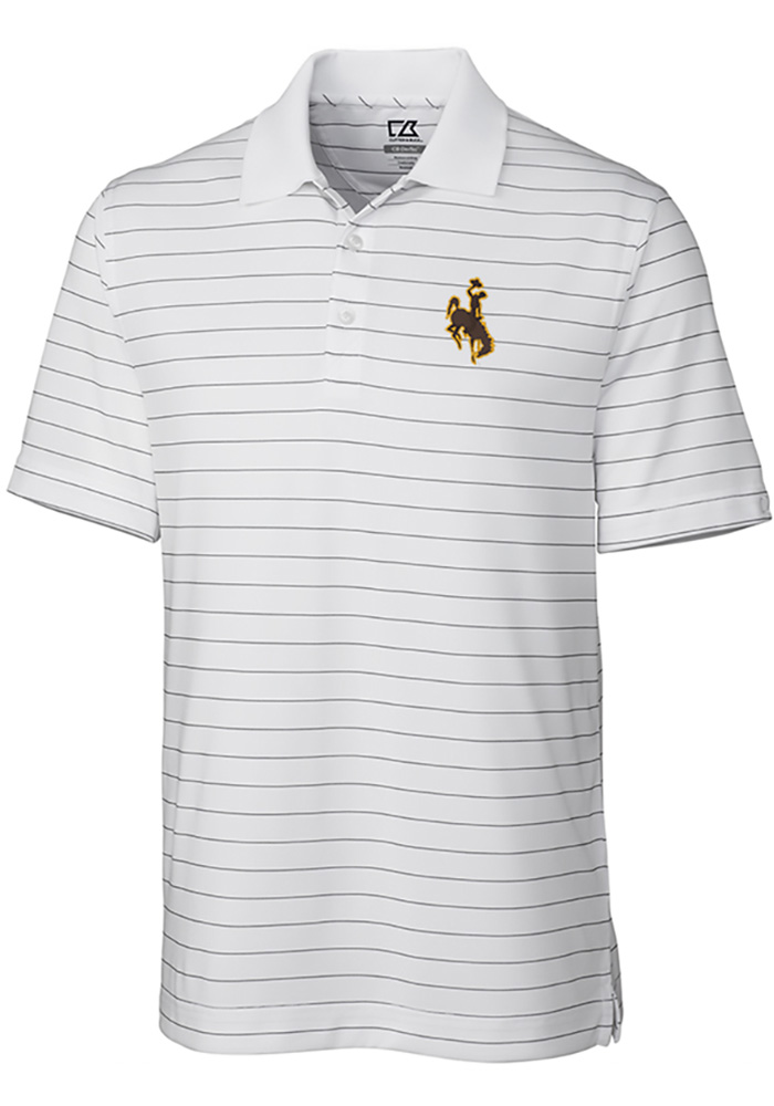 Cutter and Buck Wyoming Cowboys Mens White Franklin Stripe Short Sleeve Polo - Image 1