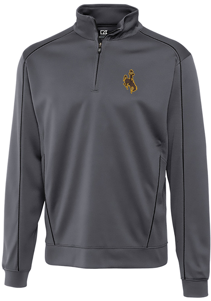 Cutter and Buck Wyoming Cowboys Mens Grey Edge Long Sleeve 1/4 Zip Pullover - Image 1