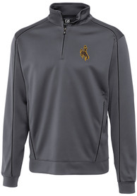 Wyoming Cowboys Cutter and Buck Edge 1/4 Zip Pullover - Grey