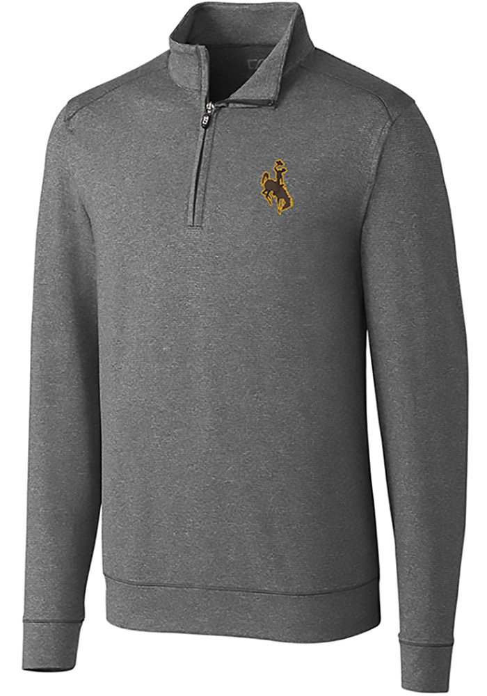 Cutter and Buck Wyoming Cowboys Mens Grey Shoreline Long Sleeve 1/4 Zip Pullover - Image 1