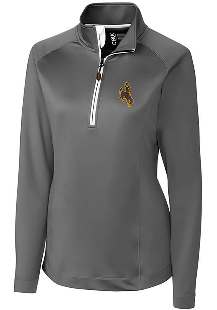 Cutter and Buck Wyoming Cowboys Womens Grey Jackson 1/4 Zip Pullover - Image 1