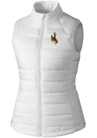 Wyoming Cowboys Womens Cutter and Buck Post Alley Vest - White