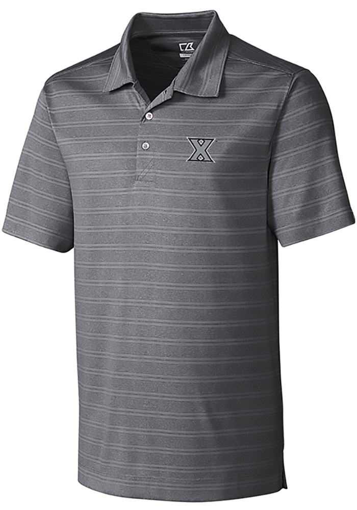 Cutter and Buck Xavier Musketeers Mens Grey Interbay Melange Short Sleeve Polo - Image 1