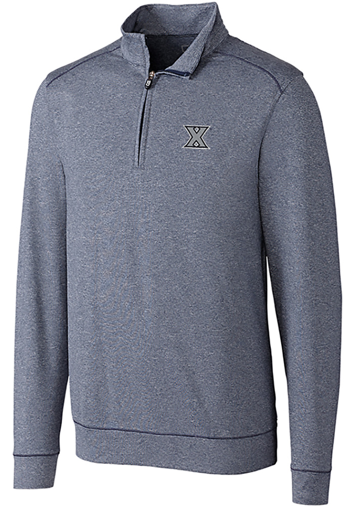 Cutter and Buck Xavier Musketeers Mens Navy Blue Shoreline Long Sleeve 1/4 Zip Pullover - Image 1