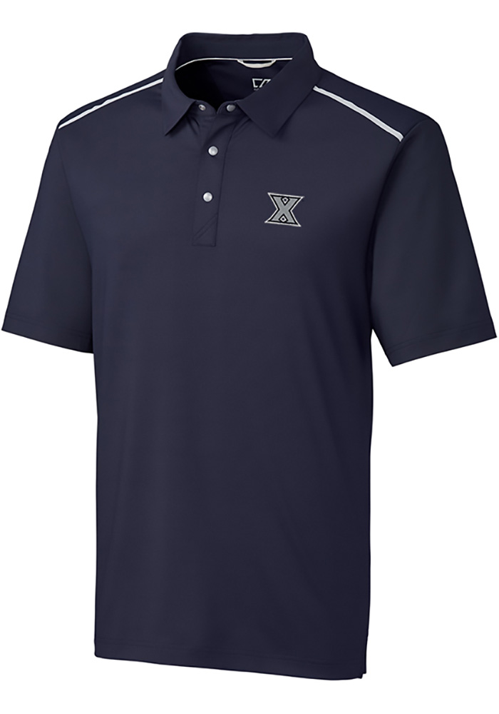 Cutter and Buck Xavier Musketeers Mens Navy Blue Fusion Short Sleeve Polo - Image 1
