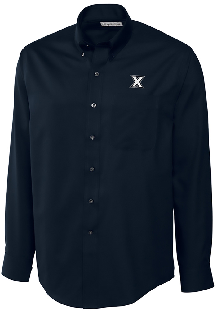 Cutter and Buck Xavier Musketeers Mens Navy Blue Epic Long Sleeve Dress Shirt - Image 1