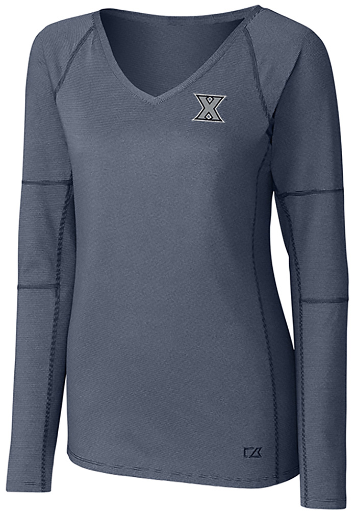 Cutter and Buck Xavier Musketeers Womens Navy Blue Victory LS Tee - Image 1