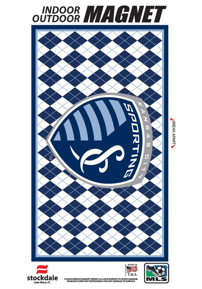 Sporting Kansas City 6x12 Argyle Car Magnet - Blue - Image 1
