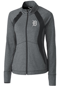 Detroit Tigers Womens Cutter and Buck Shoreline Colorblock Medium Weight Jacket - Charcoal