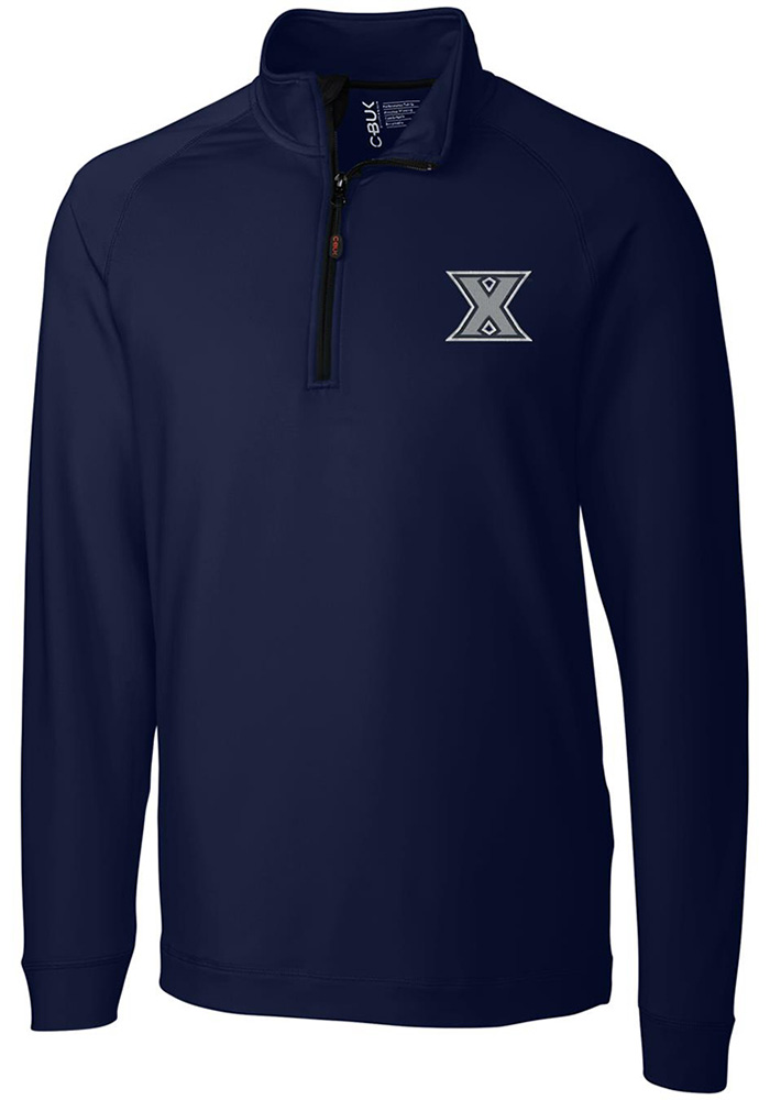 Cutter and Buck Xavier Musketeers Mens Navy Blue Jackson Long Sleeve 1/4 Zip Pullover - Image 1