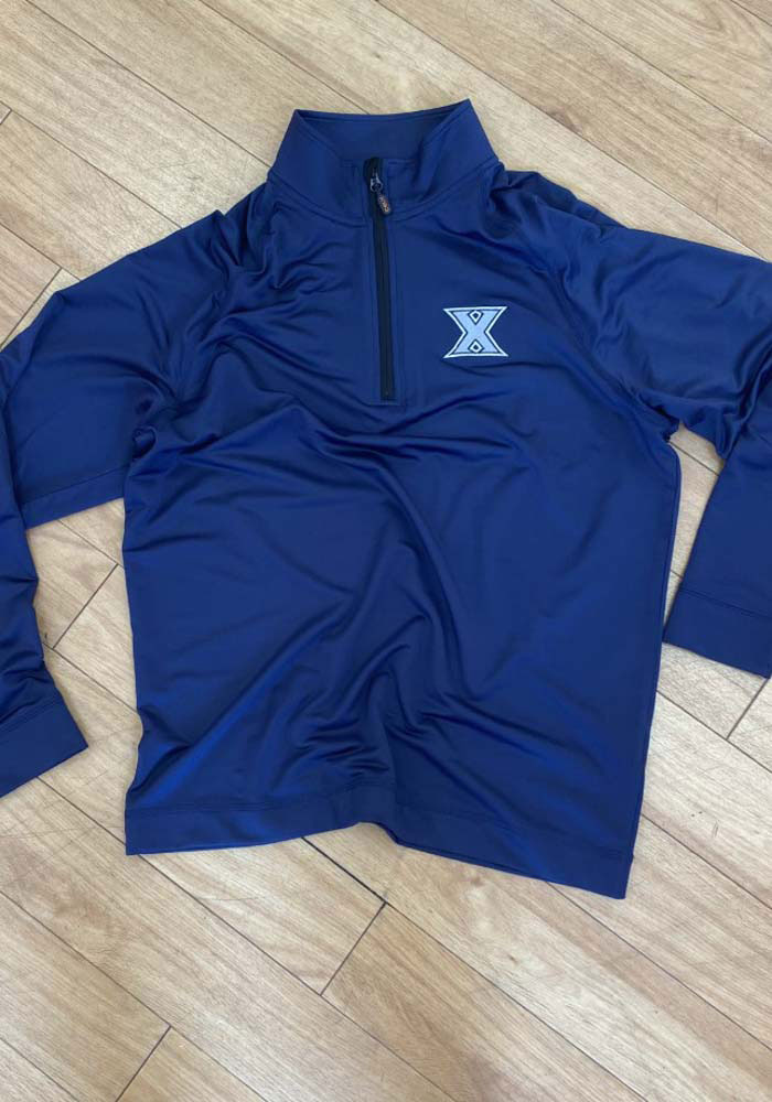 Cutter and Buck Xavier Musketeers Mens Navy Blue Jackson Long Sleeve 1/4 Zip Pullover - Image 2
