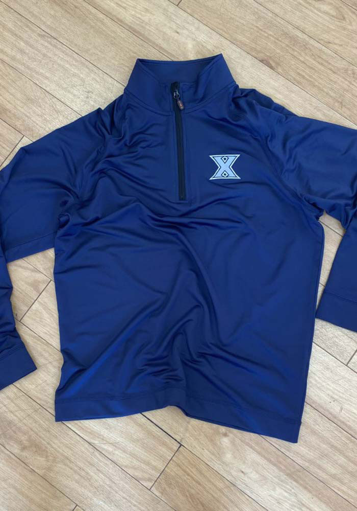 Cutter and Buck Xavier Musketeers Mens Navy Blue Jackson Long Sleeve 1/4 Zip Pullover - Image 3