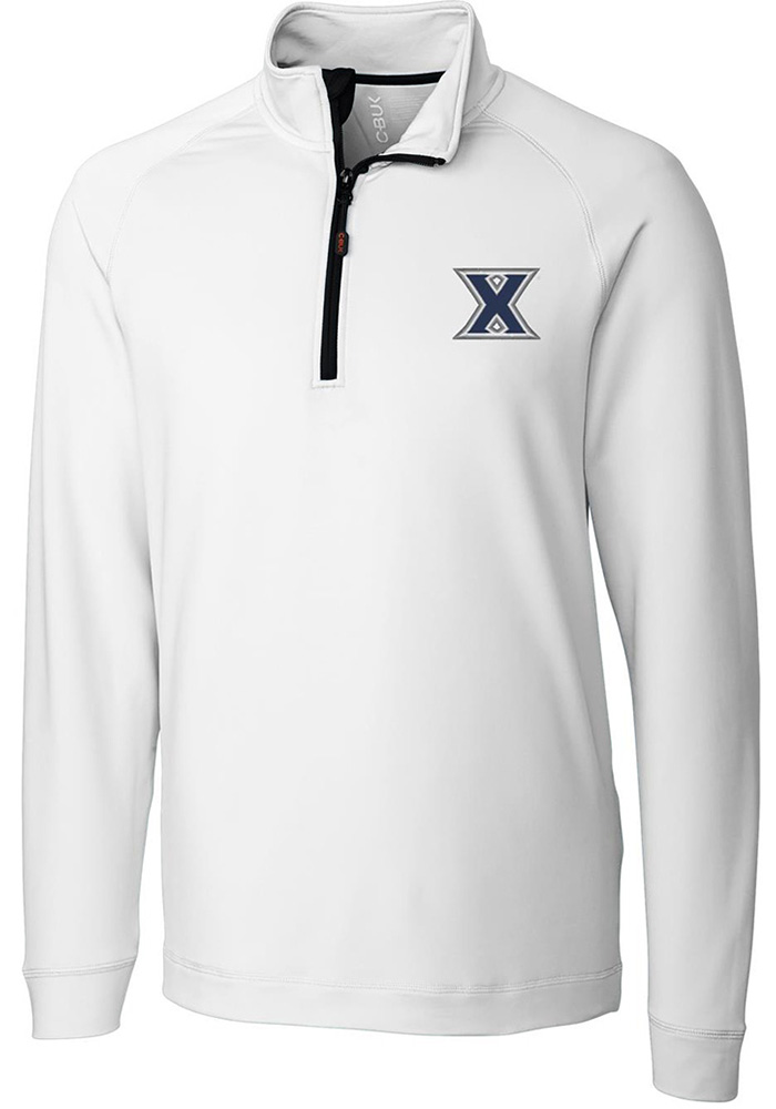 Cutter and Buck Xavier Musketeers Mens White Jackson Long Sleeve 1/4 Zip Pullover - Image 1