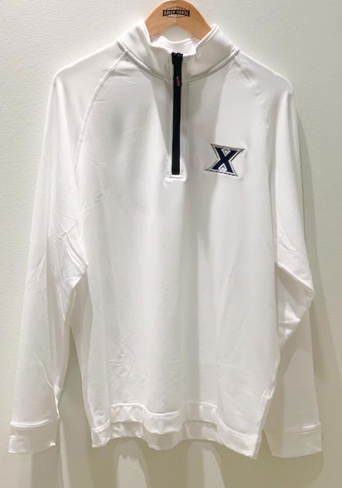 Cutter and Buck Xavier Musketeers Mens White Jackson Long Sleeve 1/4 Zip Pullover - Image 2