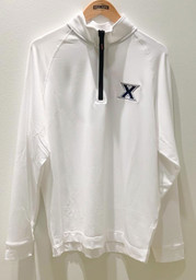 Cutter and Buck Xavier Musketeers Mens White Jackson Long Sleeve 1/4 Zip Pullover