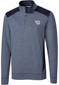 Dayton Flyers Cutter and Buck Shoreline Colorblock 1/4 Zip Pullover - Navy Blue