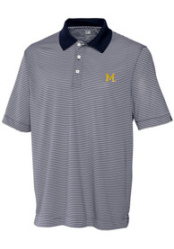 Michigan Wolverines Cutter and Buck Trevor Polo Shirt - Navy Blue