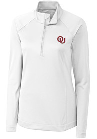 Cutter and Buck Oklahoma Sooners Womens Evolve White 1/4 Zip Pullover