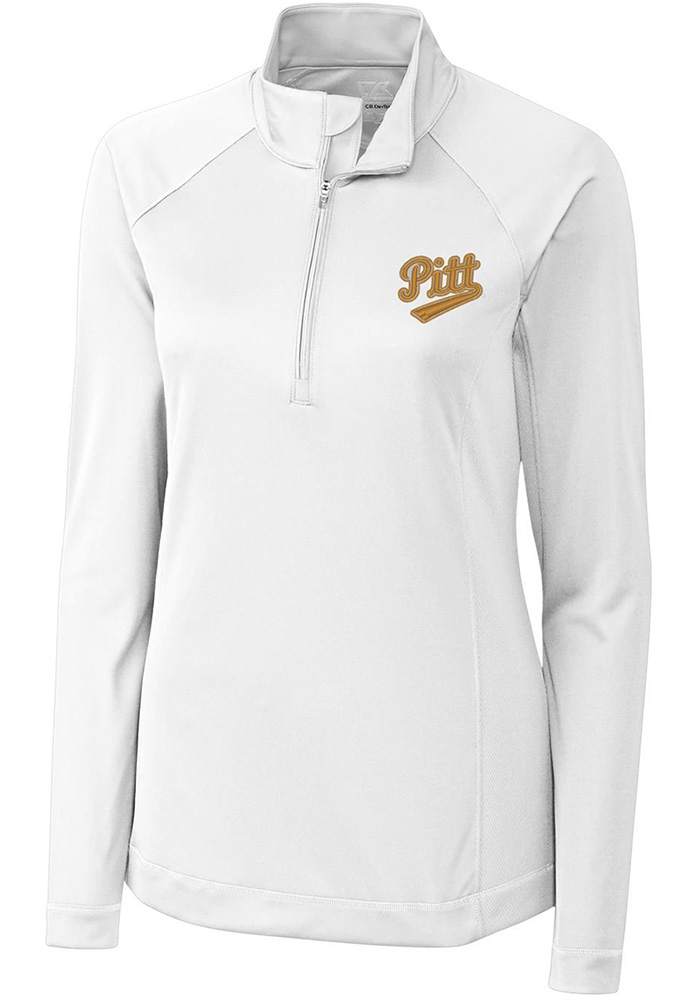 Cutter and Buck Panthers Womens White Evolve 1/4 Zip Pullover - Image 1