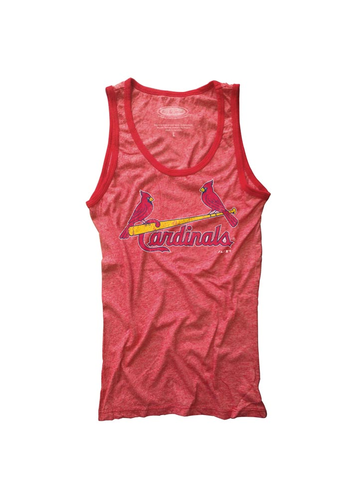 St Louis Cardinals Womens Red Contrast Tank Top - Image 1