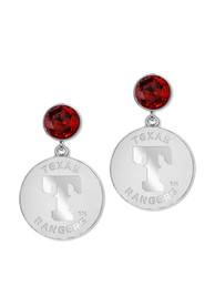 Texas Rangers Womens Overtime Desk Earrings - Silver