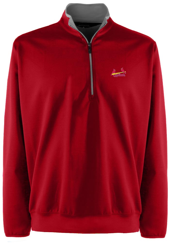 Antigua St Louis Cardinals Mens Red Leader Long Sleeve 1/4 Zip Pullover - Image 1