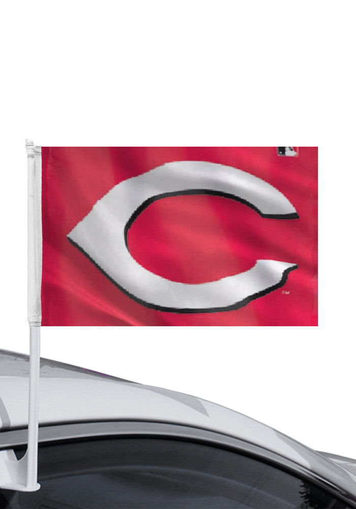 Cincinnati Reds 11x14 Red Polyester Car Flag - Image 1