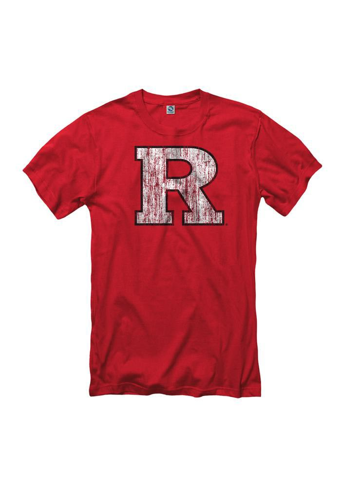 Rutgers Scarlet Knights Mens Red Distressed Short Sleeve T Shirt - Image 1