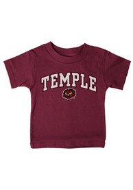 Temple Owls Infant Midsize Arch Mascot T-Shirt - Cardinal