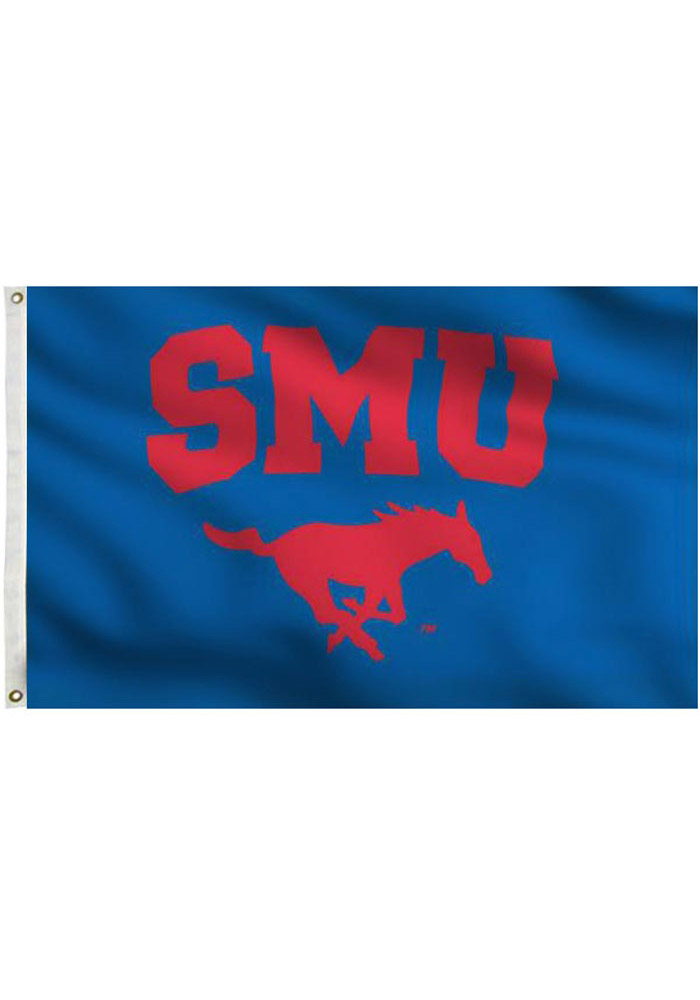 SMU Mustangs 3x5 Blue Grommet Blue Silk Screen Grommet Flag
