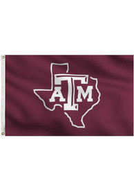 Texas A&M Aggies 3x5 Texas Outline Grommet Maroon Silk Screen Grommet Flag