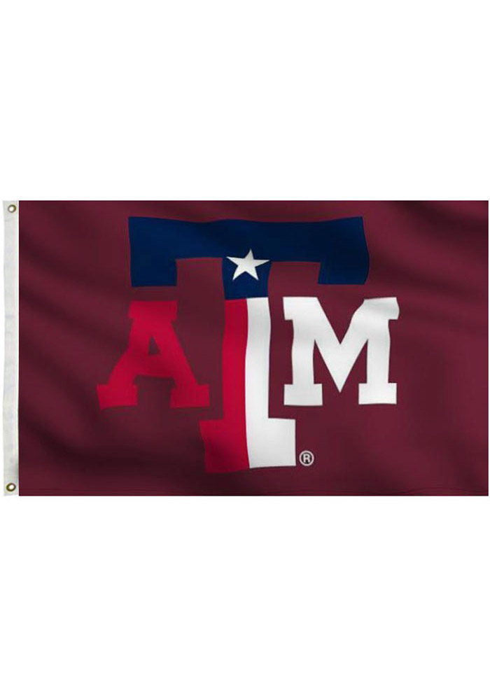 Texas A&M Aggies 3x5 Texas Colors Grommet Maroon Silk Screen Grommet Flag - Image 1