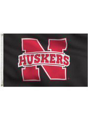 Nebraska Cornhuskers 3x5 black silk screen grommet flag Silk Screen Flag