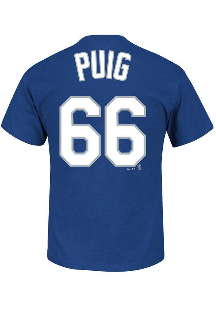 Yasiel Puig Los Angeles Dodgers Mens Blue Name and Number Short Sleeve Player T Shirt - Image 1